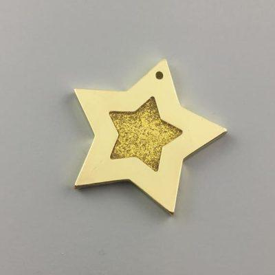 Μεταλλικό Χυτό Στοιχείο Ζάμακ Αστέρια με Σμάλτο 38Χ39mm