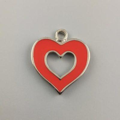 Μεταλλικό Χυτό Στοιχείο Ζάμακ Καρδιά με Σμάλτο 37Χ32mm