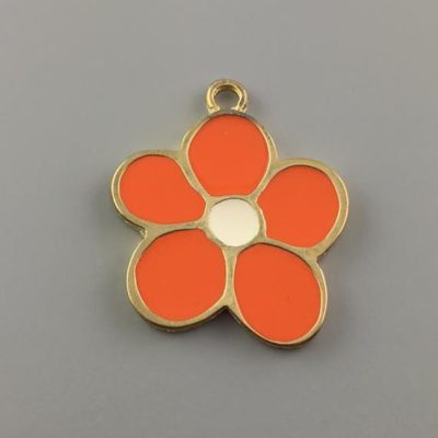Μεταλλικό Χυτό Στοιχείο Ζάμακ Λουλούδι με Σμάλτο 36Χ31mm