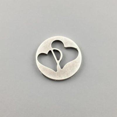 Μεταλλικό Χυτό Στοιχείο Ζάμακ Καρδιές σε Κύκλο Φ17,5mm